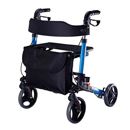 Azul Plegable Adultos Mayores Rollator Walking Fram Aid 4 Ruedas | Aleación de Aluminio | con Seat Oxford Cloth Cushion, frenos bloqueables, muletas, bolsas de almacenamiento | Altura ajustable 80-92 ⭐