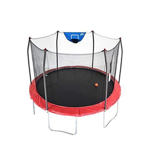 Skywalker Trampolines 12-Foot Jump N' Dunk Trampoline with Enclosure Net - Basketball Trampoline, Red