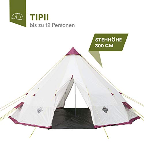 skandika Tipii Camping Picnic Party Festival Tent Teepee for 8-12 Man Persons (300cm Height)