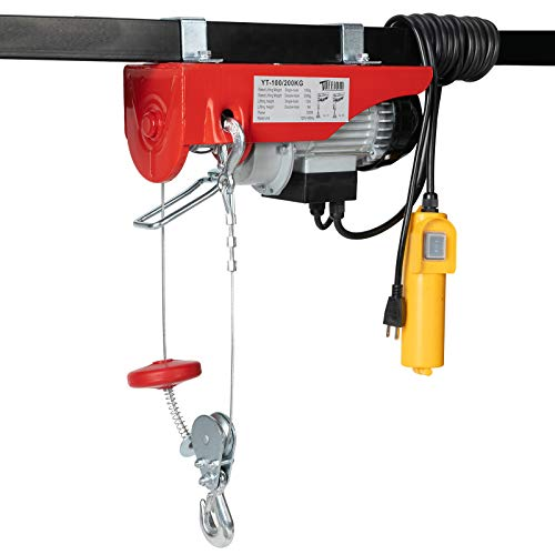 TUFFIOM 440 LBS Lift Electric Hoist Crane, 120V Electric Winches Wire Remote Control, Carbon Steel Overhead Ceiling Mount Garage Pulley, Single/Double Slings