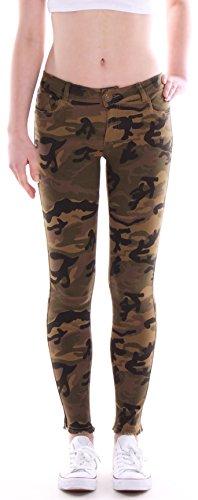 Style-Station24 Damen Jeanshosen Röhrenjeans Camouflage Hüftjeans Army Skinny Jeans