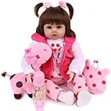 CHAREX Realistic Reborn Baby Dolls 18 inch Lifelike Weighted Toddler Girl Doll Soft Vinyl, 10-Piece Gift Set for Children 3+
