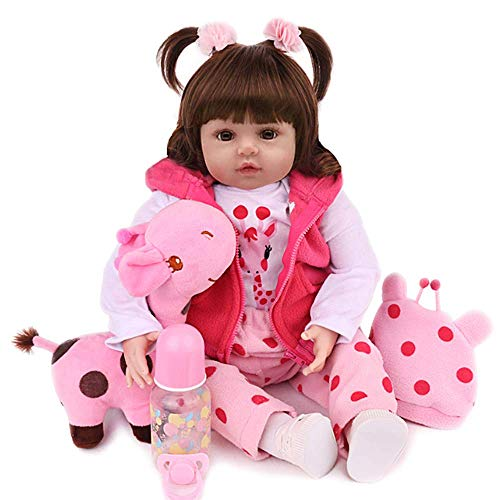 CHAREX Reborn Baby Dolls Toddler - Realisitc Reborn Girl 18 inch Doll Weighted Lifelike with Soft Silicone Body Gift Set for Children Age 3+