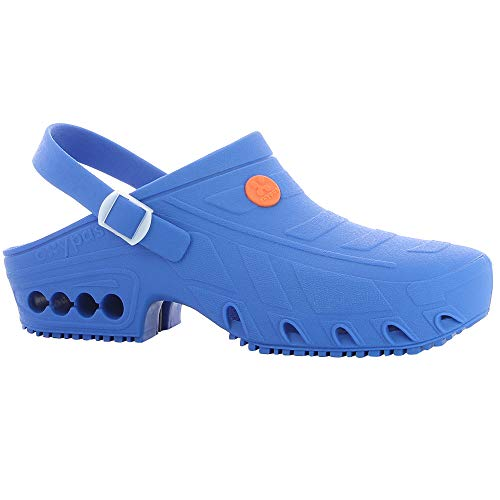 Oxypas Shoe Hospital de seguridad del basculador Zueco ligero autoclave Trabajo para Unisex-adulto 2.5 / 3.5 UK Azul