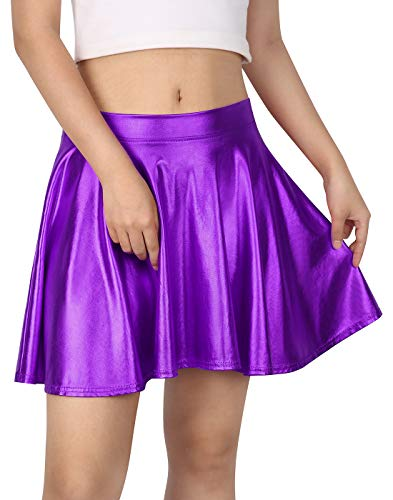 Women's Casual Fashion Flared Pleated A-Line Circle Skater Skirt (Purple, XL)
