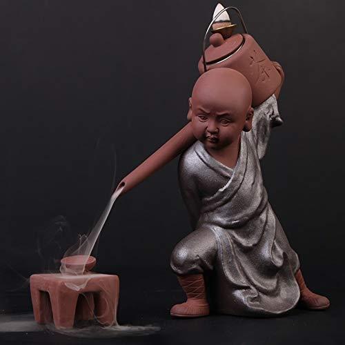 Bruciatore di incenso Tè art decorazione beccuccio pentola backflow bruciatore di incenso in ceramica decorazione fluente piccolo monaco monaco sandalo bruciatore di incenso per l'home office yoga