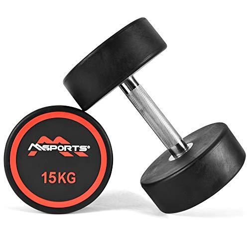 MSPORTS Rundhantel Premium 2er Set | Gummi Kurzhantel Beschichtung 2,5-50 kg | Griff verchromt und gerändelt | Verschiedene Gewichtsvarianten Hantel (2 x 15 kg)