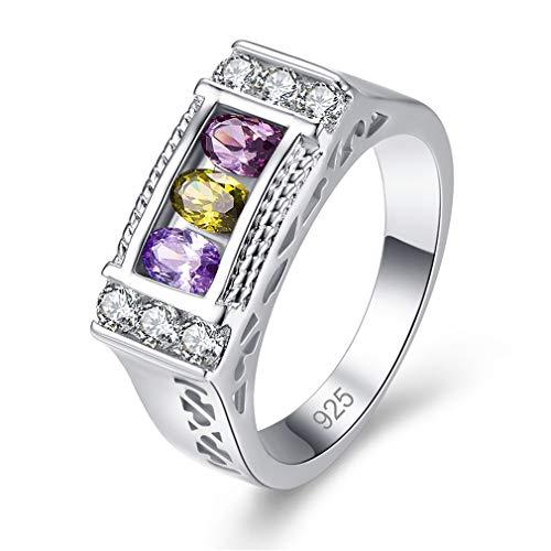 Ai.Moichien Anillo Chapado En Oro Blanco Anillo Rectangular con Incrustaciones De Diamantes Anillo De Bodas Compromiso para Mujeres