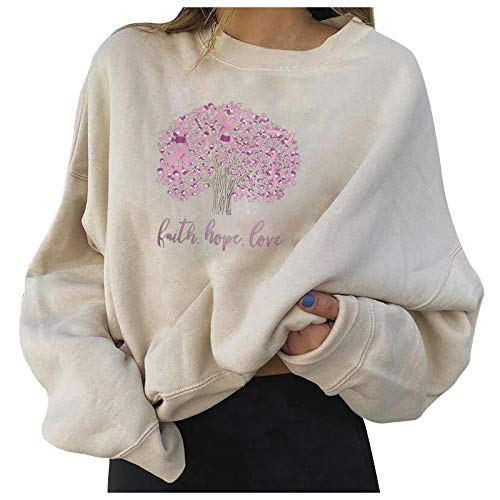 URIBAKE Women Breast Cancer Prevention Element Tops Round Neck Casual Printing Long-Sleeved Pullover Pink