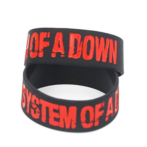 ZWH 1PC Sistema DE Aficionados a Down Pulsera de Silicona for la música de Gama Pulseras Rojo Negro y brazaletes Hombres de Las Mujeres de la joyería Regalo (Length : 20cm, Main Stone Color : Black)