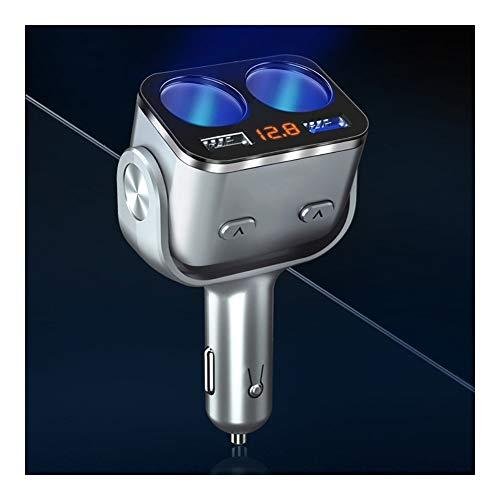 RJJX Cigarrillos DC12-24V LCD del Coche de Encendedor USB del Divisor del zócalo de Doble Puerto Adaptador de Corriente QC3.0 Cargador rápido zócalo Indicador LED con (Color Name : Silver)