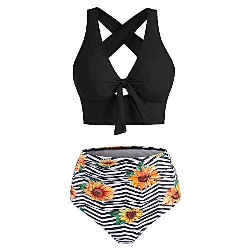 Bilbull Genorsk - Conjunto de bikini para mujer con volantes y cuello de gancho, cintura alta y sexi, traje de baño para mujer, traje de baño de dos piezas, tankini, con cintura alta Negro M