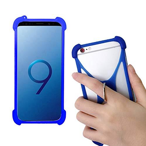 Universal Soft Silicone Blue Case for Unimax Umx U683CL Ans Ul40 UL50 L50 U452tl U683CL Phone Stand Ring Holder Case Cover for BLU Vivo X5 XL5 / V9 Studio Mini / V5 View 1 G9 Pro R1 Plus G6 G60 C5 C5L
