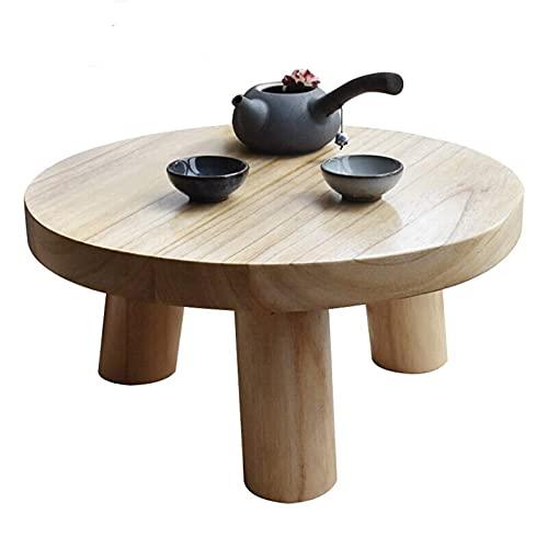 Soffbord Japansk stil Tatami Soffbord Fönsterbord Litet soffbord Logg runt bord för vardagsrum (inklusive 2 kuddar) Ändbord (Färg: Skrivbord 40 cm)