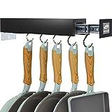 SOLEJAZZ Soporte para macetas Bar Rack Percha para utensilios de cocina con 5 ganchos ajustables, Organización de despensa extraíble y almacenamiento, Negro