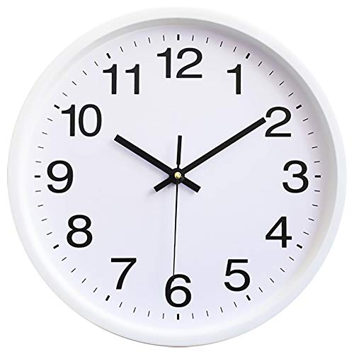 TOKTEKK Wall Clock 12 inch Silent Non-Ticking Quality Quartz Battery Operated Round Gold Wall Clock Easy to Read Decor for Home Office School Living Room Bedroom Kitchen (12in-White)