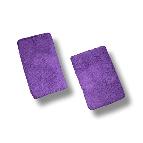 US Glove Cotton 4.5in Sports Wristband for Men & Women | 2 PCS Moisture Wicking Athletic Cotton Terry Cloth Sweatband | for Gymnastics Grips, Tennis, Basketball, Running, Gym, Working Out | Purple