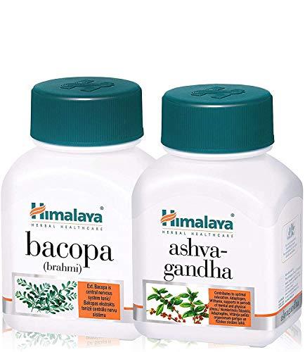 Himalaya Ashwagandha + Bacopa Monniera   Nootropico e cognitivo Enhancer   Per la salute del cervello, il benessere della memoria, la chiarezza e la messa a fuoco   60caps (Bacopa + Ashwagandha Combo)