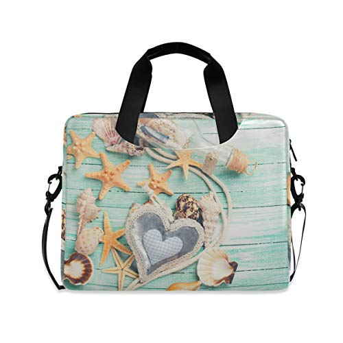 MAHU Laptop Case Bag Ocean Sea Seashell Starfish Laptop Sleeves Briefcase 13 14 15.6 inch Computer Messenger Bag with Handle Strap for Women Men Boys Girls