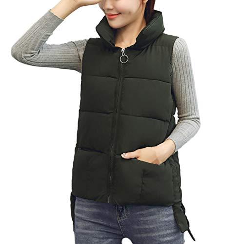 Manteaux Femme YUYOUG Manteau Chaud Veste col zippé pour Femmes Veste Blousons à col Montant Zippée Matelassé Parka (3XL, Army Green)