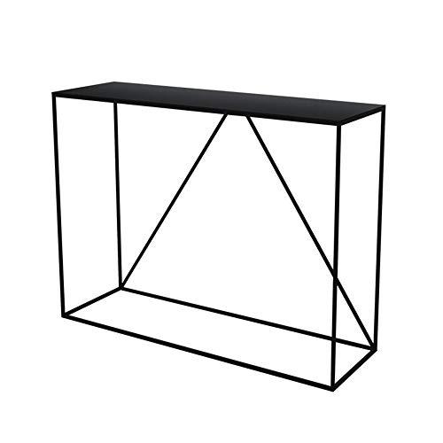 LIANG Mesa de consola de metal, mesa estrecha para entrada con estante de almacenamiento para sala de estar, pasillo, entrada, granja, negro/blanco (color: negro, tamaño: 90 x 30 x 75 cm)