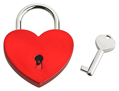 Liebesschloss In Herzform | Herzschloss Mit Schlüssel & Samtsäckchen Als Liebesgeschenk | Rot | Ohne Gravur
