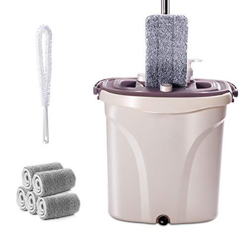 Masthome Flach-Mopp und 2 in 1 Eimer Wischmop Set mit 5 Mopp Tücher für Nassen und Trocken Mikrofaser Flachmopp Bodenwischer mit Reinigungsbürste für alle Boden