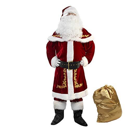 WeGuard Deluxe Velvet Adult Santa Suit for Men 12PCS Set Christmas Santa Clause Costume (Large)