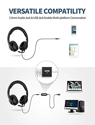Mpow 3.5mm/USB Headsets, Foldable Computer Headset with Mute Function, PC Headphones with Retractable Microphone Noise Canceling, All Day Comfort f   or Meetings/Call Center/School