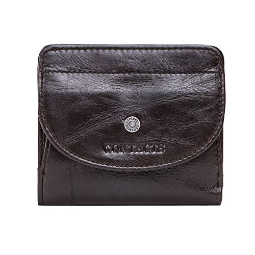 Contacts Monedero de cuero real para dama con ranuras para tarjetas bolsillo Bifold Wallet monedero con cierre a presión