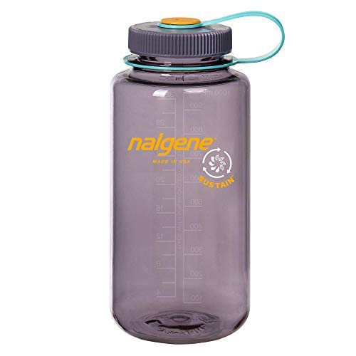Nalgene Sustain Tritan Wide Mouth BPA-Free Water Bottle, Aubergine, 32 oz