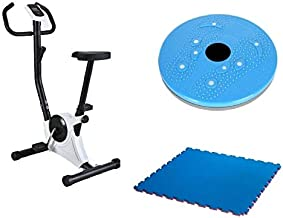 Bicycle Exercise and Slimming from Fitness World, Silver, CF-937A With Rotating Disk for exercising With Yoga World Yoga Mat