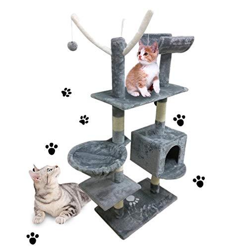 MathRose Árbol para Gatos, Árbol Rascador Gatos con Nidos, 135cm Rascador para Gatos, Rascador con Hamaca, Cueva, Plataformas y Bolas de Juego(Gris)