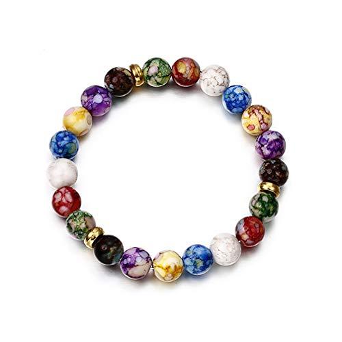 LJSLYJ Bunte Acryl Perlen Armbänder für Frauen lila Kristall Yoga Armband Lotus Schmuck