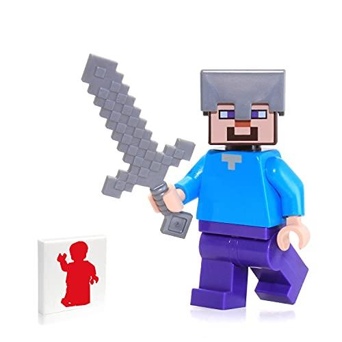 minecraft weapon toys LEGO Minecraft Minifigure Steve Minifig with Iron Helmet + Sword
