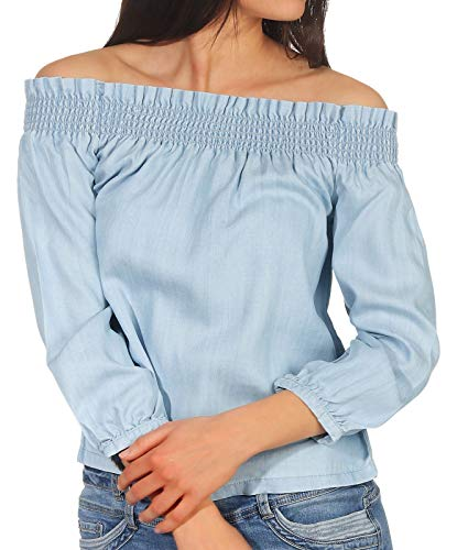ONLY Damen Langarm Bluse Samantha 15169719 Light Blue Denim 34