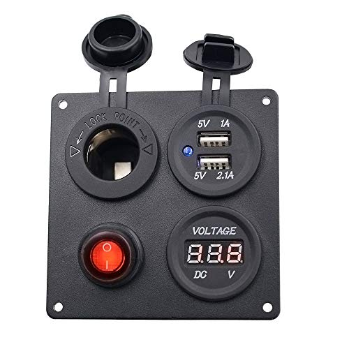 FWUDI Interruptor de Encendido 12V Dual Voltímetro USB for la Carga con el Interruptor dedicado Panel for el vehículo, Adecuado for autocaravanas