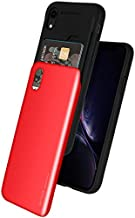 GOOSPERY iPhone XR Case [Sliding Card Holder] Sky Slide Protective Dual Layer Bumper [TPU+PC] Cover with Card Slot Wallet for Apple iPhone XR (Red) IPXR-Sky-RED