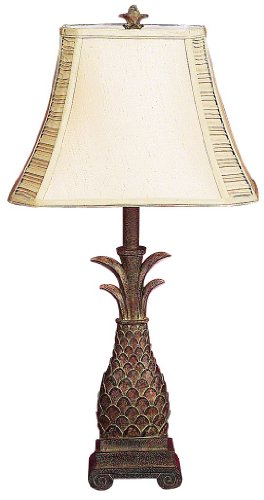 Deco 79 Polystone Pineapple Motif Table Lamp, 28-Inch, Set of 2