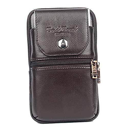sharprepublic Hombres Cuero Teléfono Bolsa de Cintura Monedero Billetera Cinturón Boca Funda Funda Impermeable - marrón S