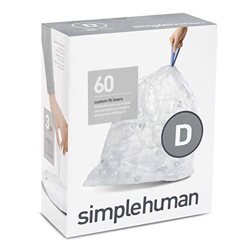 simplehuman, Code D passgenaue Müllbeutel 3 x Packung mit 20 (60 Müllbeutel), durchsichtiger Kunststoff
