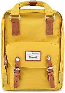 Doughnut -Classic School Backpack is perfect for boys and girls. Classic school travel handbag (L-28cm*11cm*38cm, Mustard/Yellow)