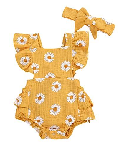 Carolilly Neugeborenes Baby Mädchen Rüschen Body Blumen Strampler Einteiler +Stirnband Prinzessin Sommer Outfit (Gelb, 18-24 Monate)