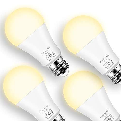 Lampadina Smart WiFi E27, 13W Lampadine Intelligente LED Con Luce Soffusa Bianco Caldo 2700K Compatibile Con Alexa Google Home (confezione da 4)