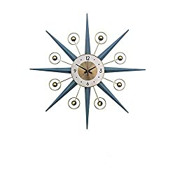 SHISEDECO Mid-Century Metal Wall Clock, Large Starburst Decoration for Home, Kitchen,Living Room,Office (Blue, 22)