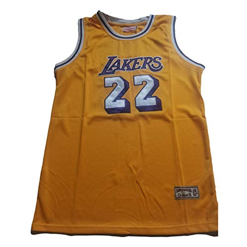 MRYUK Chaleco de Baloncesto Retro de los Hombres, Elgin Baylor #Los Angeles Lakers 22# Bordado de Baloncesto Camiseta Camiseta, Secado rápido y Transpirable Yellow-S