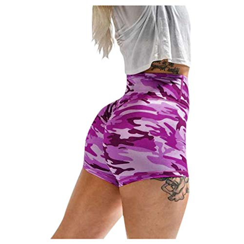 Luotuo Damen Yoga Shorts, Camouflage Sportshorts Basic Slip Bike Skinny Kompression Shorts Fitness Workout Leggings Elastizität Bequem Kurze Hosen