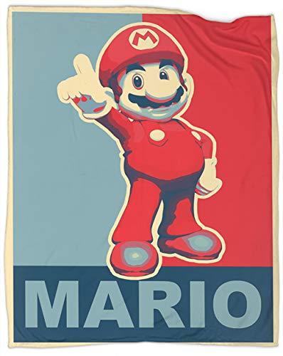 Super Mario Bros Manta reversible Super Mario Bros Hope Style Manta de forro polar, tamaño super suave, manta para cama de 127 x 101 cm