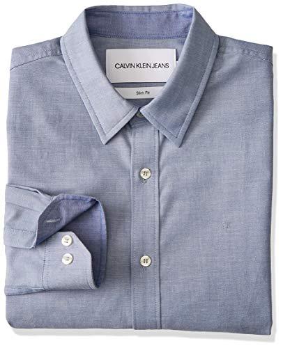 calvin klein jeans Chambray Slim Non Stretch L/S Dress Shirts Hommes Blue -...