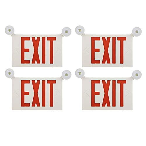 EXITLUX 4 Pack LED Emergency Exit Light Adjustable Two LED Head Exit Sign Light Commercial Emergency Exit Lighting Combo with Back-up Battery for Business -UL Certificated